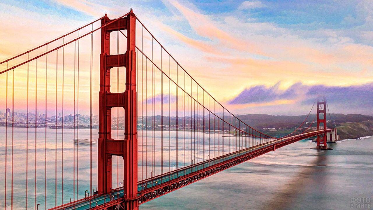 Мост Золотые ворота на восходе солнца