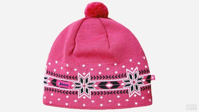 Девчачья лыжная шапочка ярко-розового цвета с контрастным орнаментом