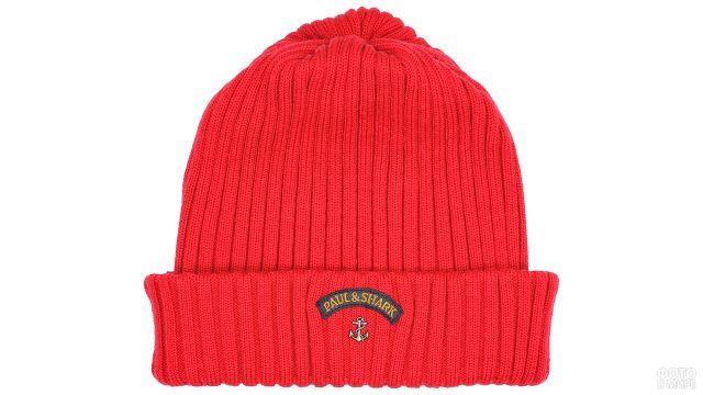 Мужская красная шапка-бини