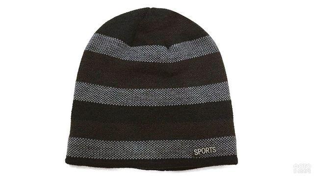 Полосатая мужская шапка-бини