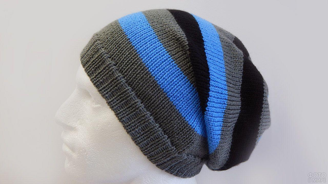 Полосатая шапка-бини оверсайз