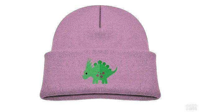 Розовая шапочка-бини с нарисованным динозавриком