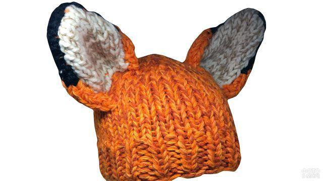 Рыжая вязаная шапка с лисьими ушами