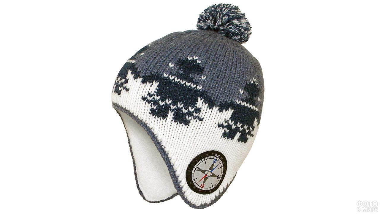 Сине-белая спортивная алтайская шапка с орнаментом