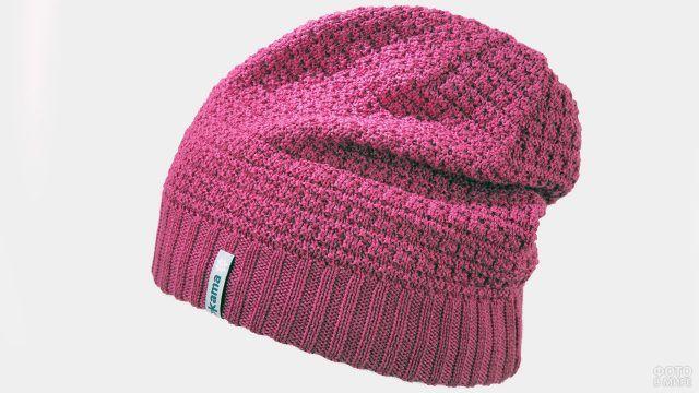 Вязаная шапка-бини цвета фуксии