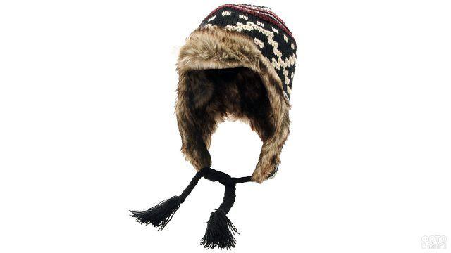 Вязаная шапка охотника на искуственном меху
