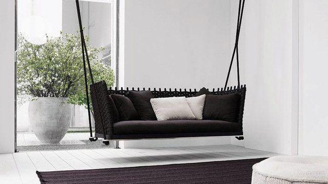 Плетёный диван-качели цвета венге