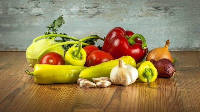 Разноцветные овощи для лечо из своего огорода