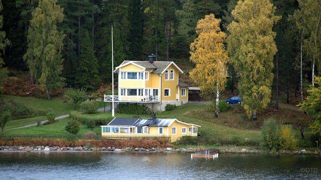 Деревянный дом под берёзами на берегу реки
