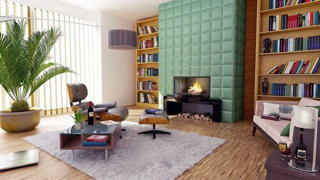 Современный интерьер с камином и библиотекой в гостиной