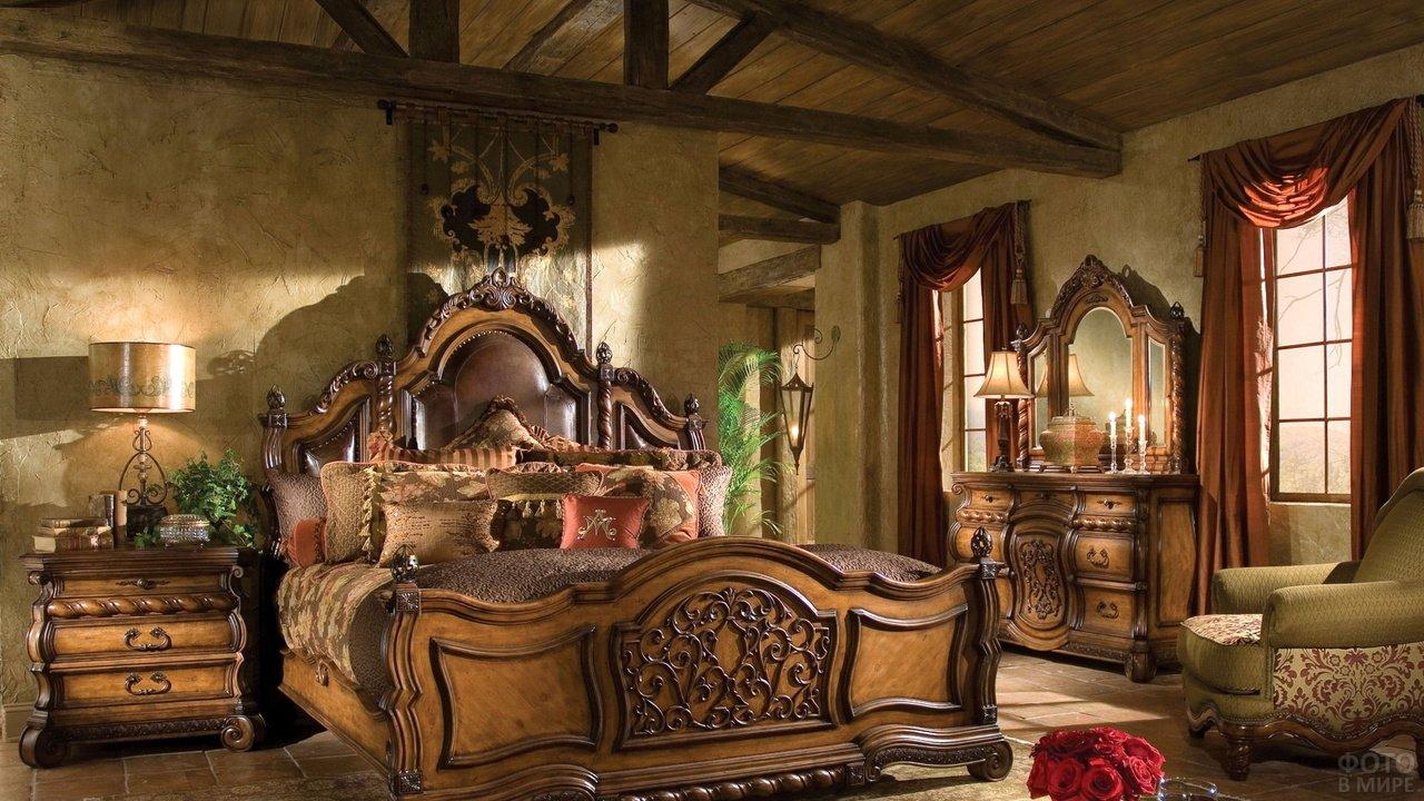 Интерьер спальни под старину