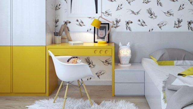 Модная детская спальня с жёлтыми акцентами
