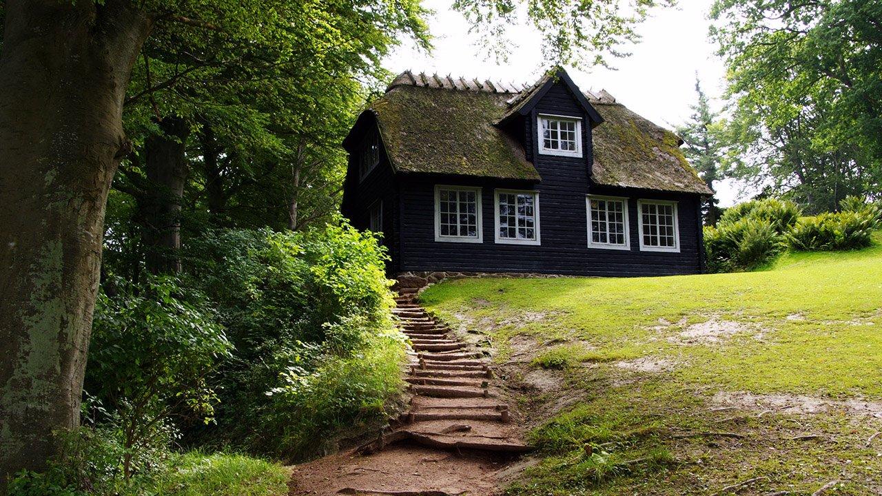 Чёрный дом с замшелой крышей в зелёном парке