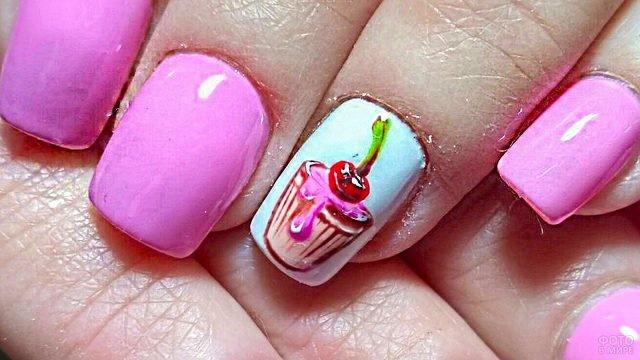 Пирожное с вишенкой нарисовано на ногте