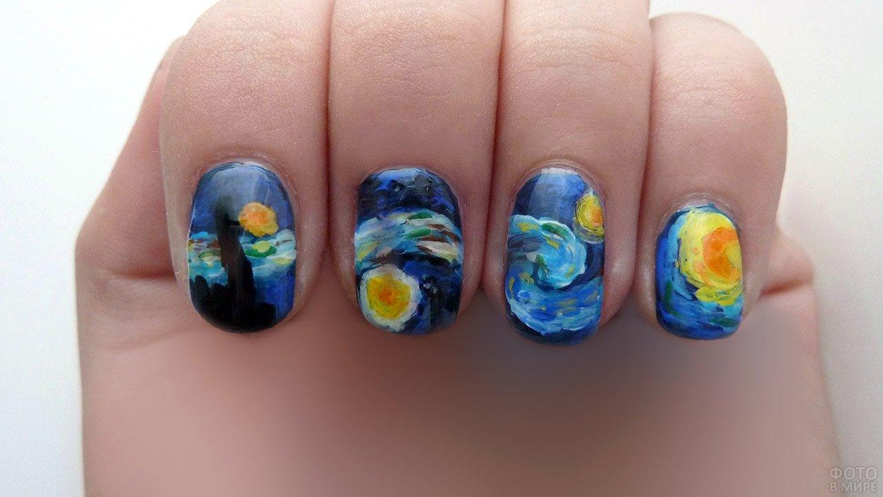 Роспись ногтей а-ля Ван Гог