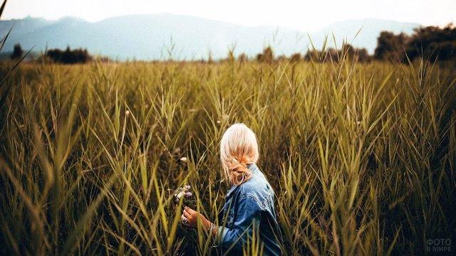 Блондинка в джинсовой куртке среди высокой осенней травы