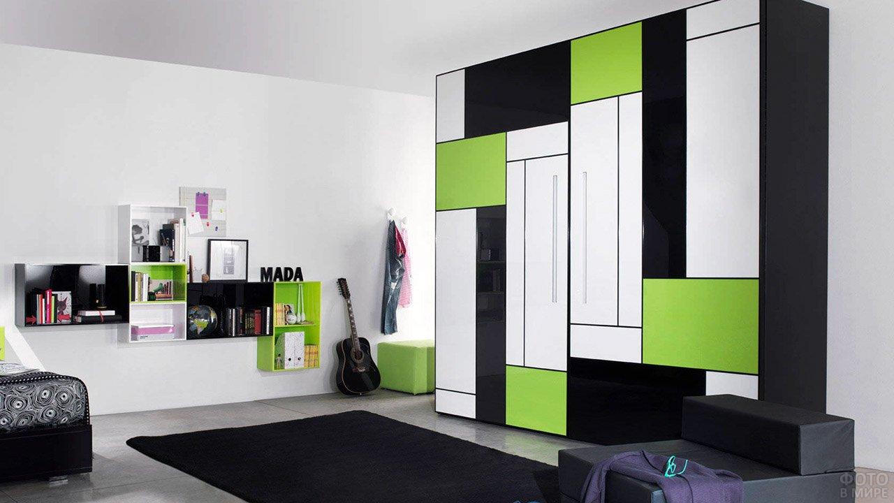 Чёрно-белая мебель для спальни с зелёными акцентами в стиле Мондриана