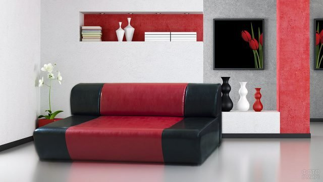 Кожаный красно-чёрный диван в минималистичном стиле