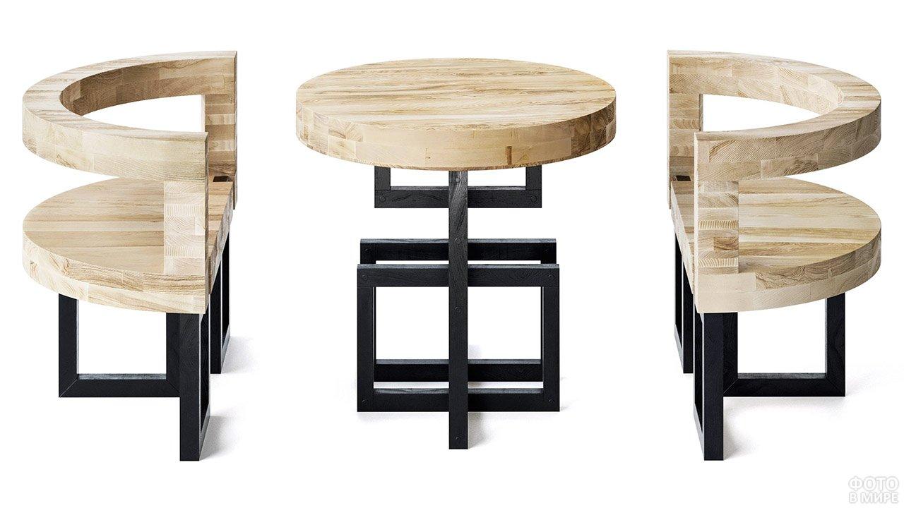 Кресла и столик из дерева и металла в стиле конструктивизм