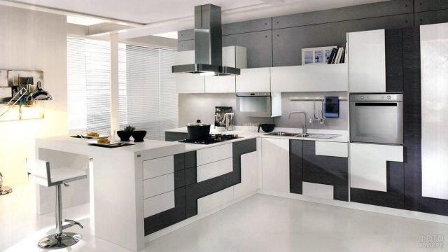 Кухонный чёрно-белый комплект мебели в стиле минимализм