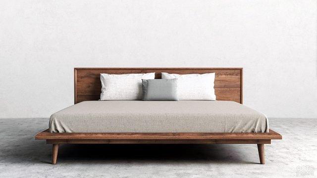 Лаконичная дощатая кровать для лофт-спальни