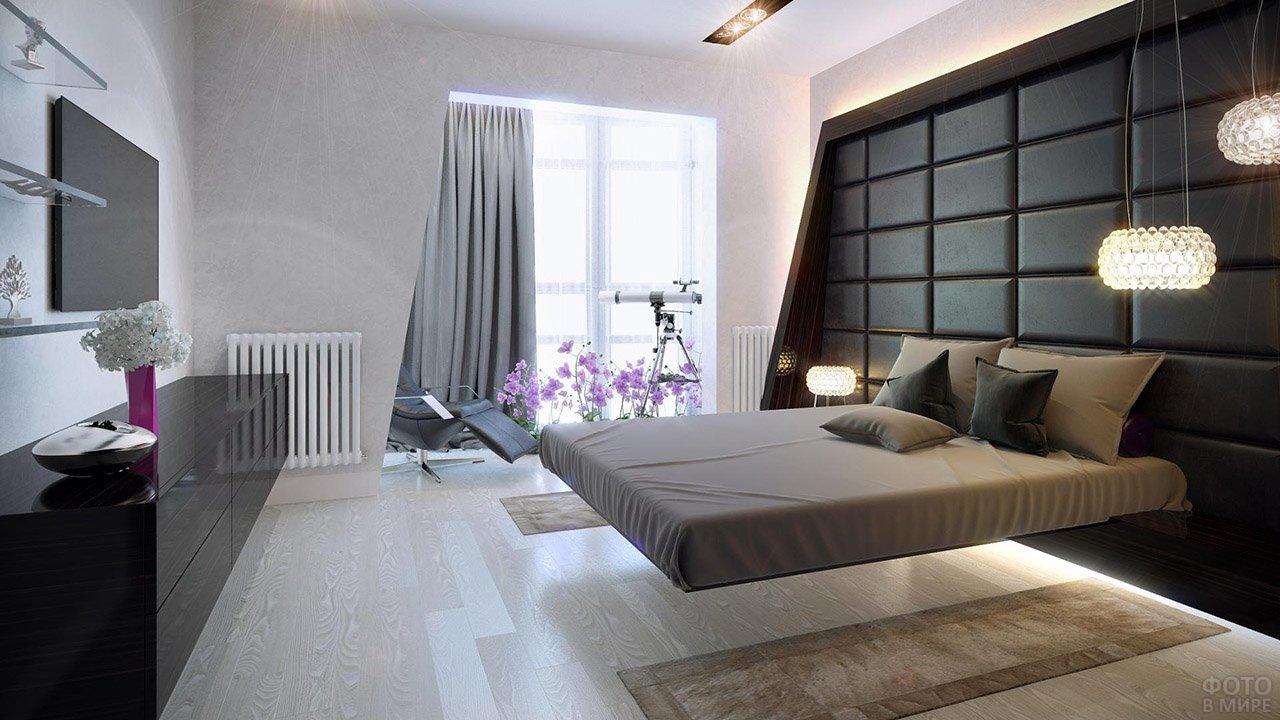 Парящая кровать в спальне в стиле хай-тек