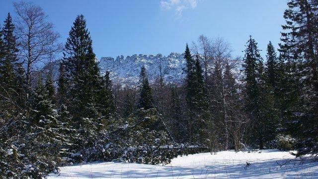 Подъём в гору через зимний лес парка Таганай