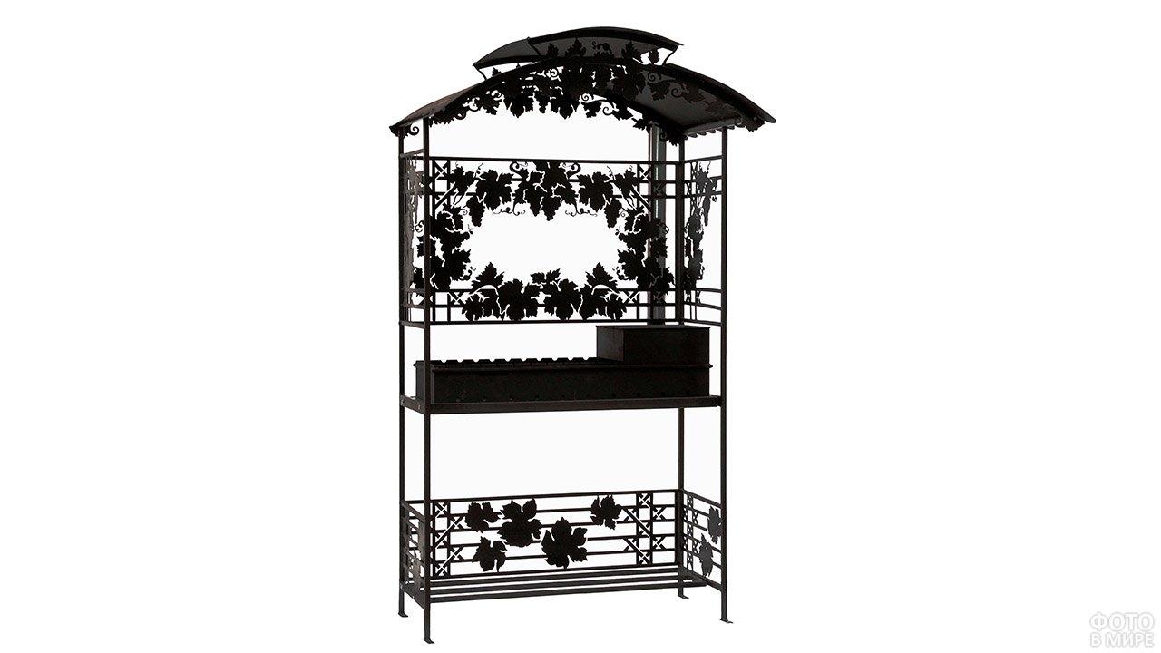 Кованый садовый мангал с разборной крышей и декоративными виноградными листьями