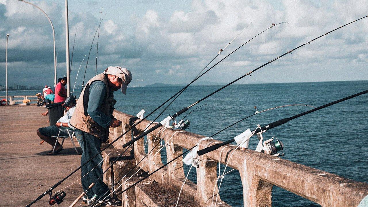 Рыбаки на набережной портового города