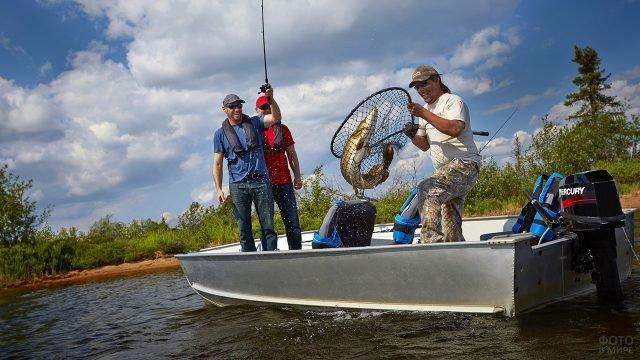 Трое счастливых рыболовов в моторной лодке вытаскивают щуку в подсаке