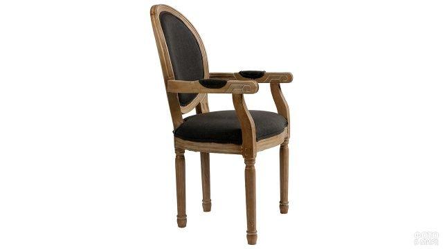 Деревянный стул-кресло с мягким сиденьем и круглой французской спинкой