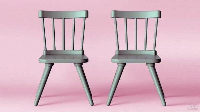 Два детских деревянных стульчика бирюзового цвета
