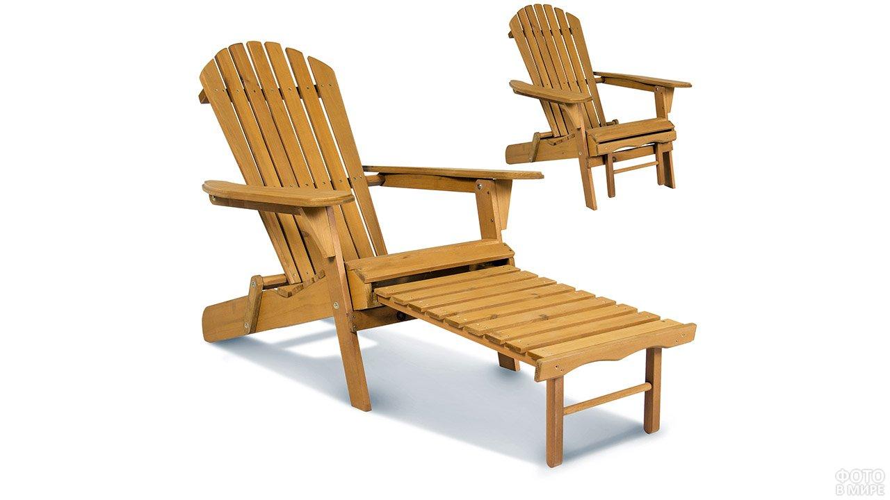 Складное деревянное кресло-шезлонг для сада