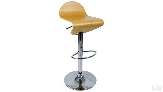 Современный барный стул с гнутым деревянным сиденьем