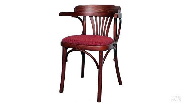 Венский деревянный стул-кресло с мягким сиденьем бордового цвета