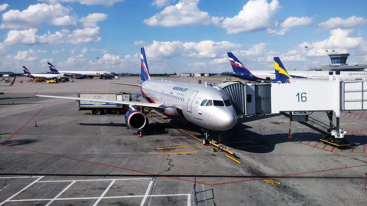 Посадка на самолёт Аэрофлота через телетрап