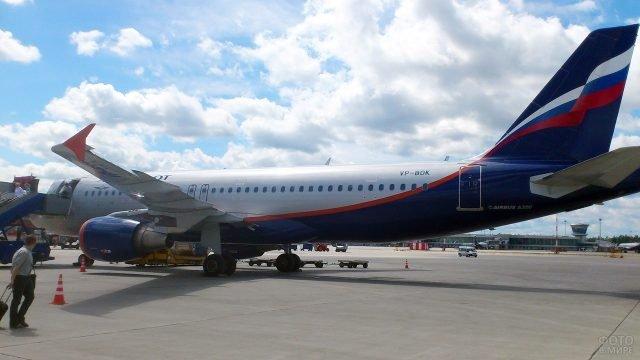 Посадка на самолёт Аэрофлота в летнем аэропорту