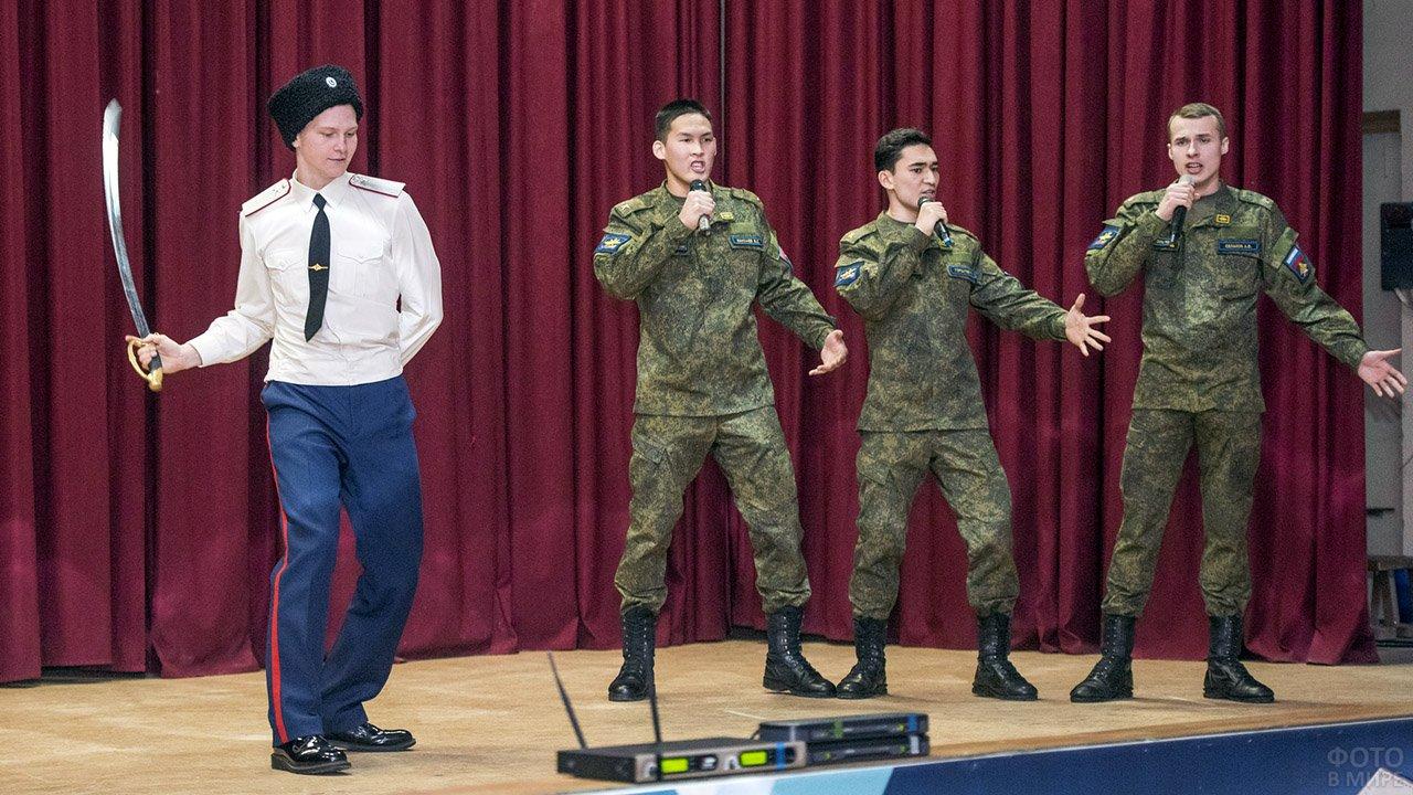 Выступление на сцене в ходе празднования 23 февраля в Воронеже