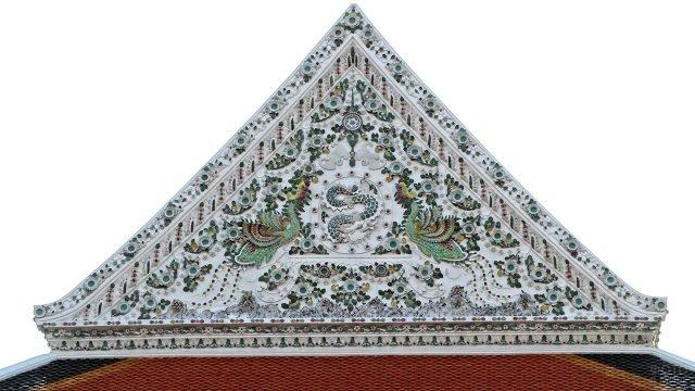 Китайская керамика на фронтоне храма в Бангкоке