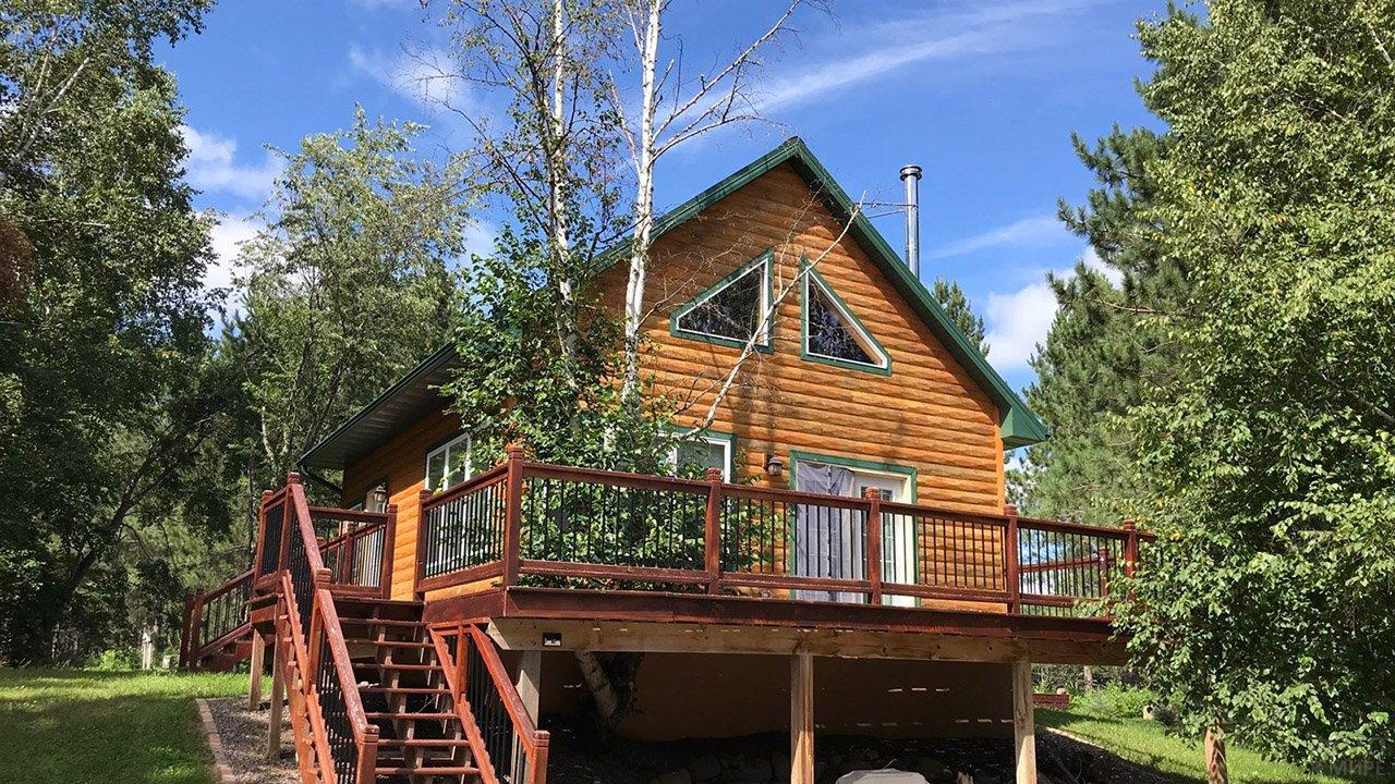 Бревенчатый эко-дом из оцилиндровки с берёзой на крыльце