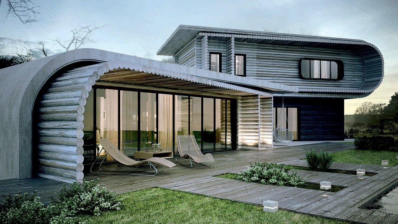 Концептуальный современный дом из оцилиндровки с шезлонгами на веранде