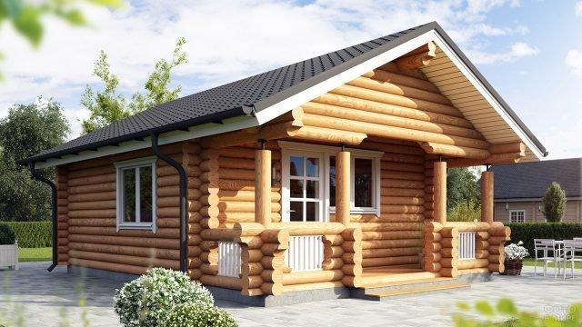Типовой садовый дом из оцилиндрованного бревна с широким крыльцом