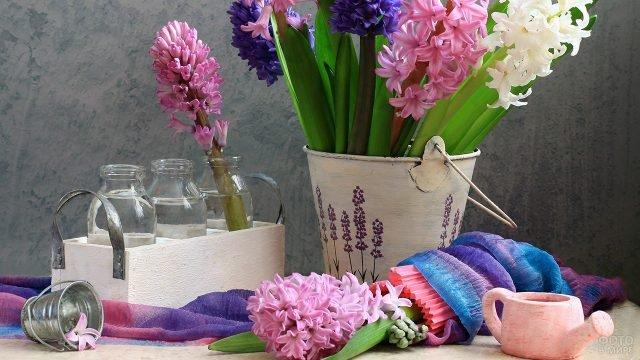 Ранние геацинты среди декора к 8 марта