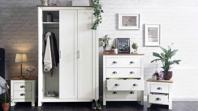 Белая классическая мебель в прихожей в стиле лофт