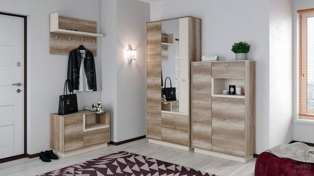 Мебель для гостиной в светло-голубом интерьере квартиры-студии