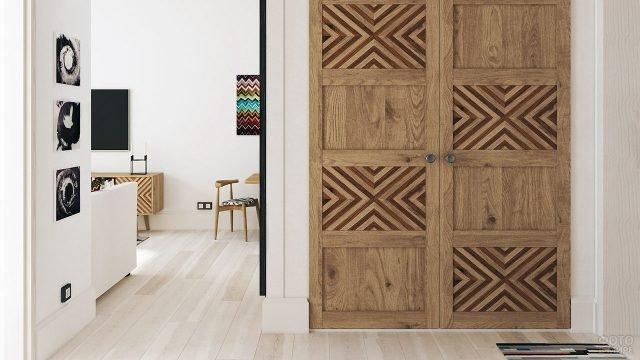 Оригинальный двухстворчатый платяной шкаф в прихожей в скандинавском стиле