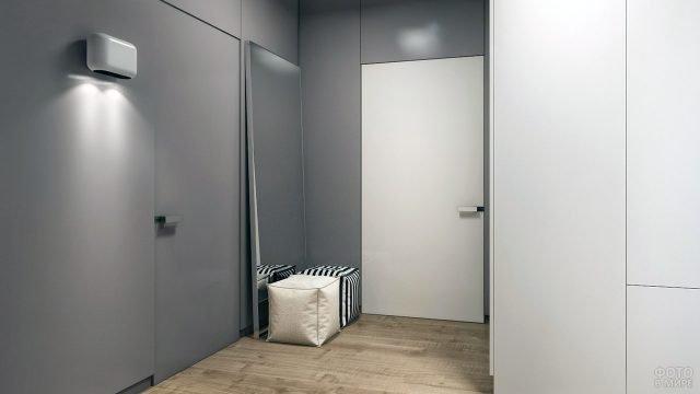 Стиль минимализм в интерьере прихожей цвета капучино с белыми панелями