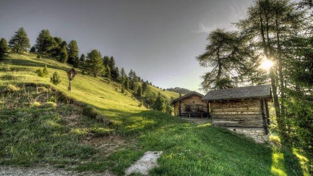 Деревянный домик и баня на зелёном склоне холма