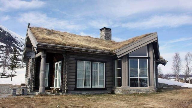 Дом в горах в сельском стиле с соломенной крышей и французским остеклением