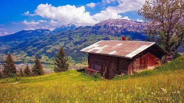 Горный пейзаж с деревянным домиком на склоне цветущего холма